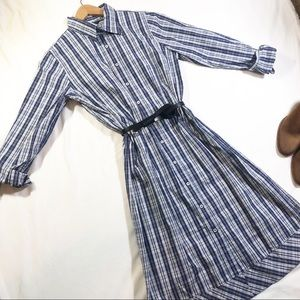 Brooks Brothers blue plaid long sleeve shirt dress
